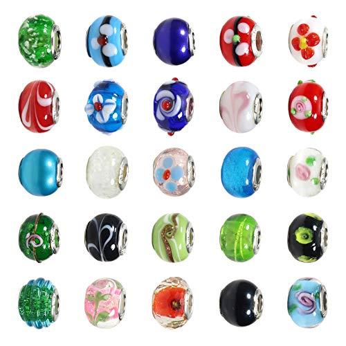 TOAOB 50 Piezas 14 mm Abalorios Europeos de Vidrio Serie Multicolor Cuentas Gran Agujero para Fabricación de Joyas Pulseras y Cadena de Serpiente