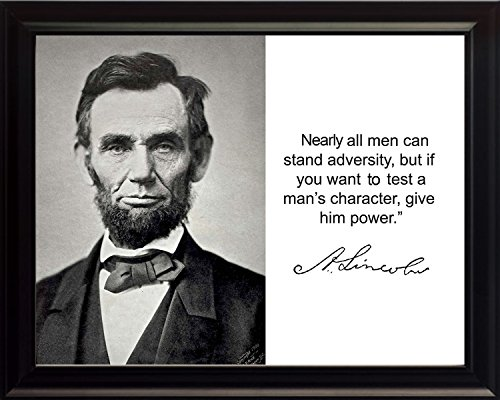 Abraham Lincoln 'casi todos los hombres' cita autógrafo 8x 10Foto enmarcada