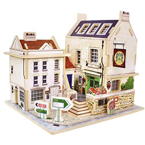 Happy Cherry 3D Puzzle Madera DIY Modelo Creativo Juguete Educativo Juego para Niño Niña - Casa en Reino Unido - Bar