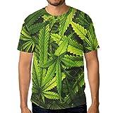 alaza Homme Feuille de Cannabis de Cannabis à Manches Courtes T-Shirt décontracté Ras du Cou Grand Multi