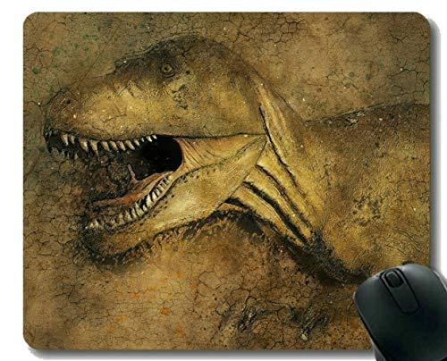 Cojín de ratón con el Borde de Bloqueo, Antiguo Dinosaurio Oficina Alfombrilla de ratón