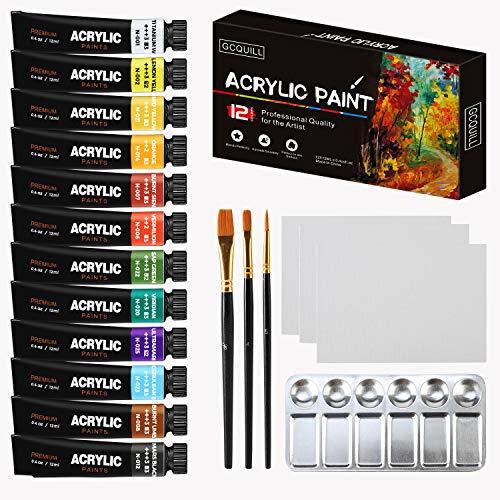 GC Acrylfarbe, Set mit 12 Farben – für Leinwand, Stoff, Glas, Keramik, Holz, Poster, Basteln – ungiftig & lebendige Farben & reiche Pigmente – für Kinder, Studenten & professionelle Maler GC-AP12