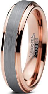 Tungsten Wedding Band Ring 4mm Men Women Comfort Fit 18k Yellow Rose Gold Black Grey Step Bevel Edge Brushed Polished