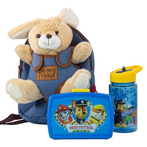 Mochila Infantil con Peluche extraíble de Conejo Bob, Fiambrera y Botella en Azul, Ideal para la guardería o para excursiones Familiares.