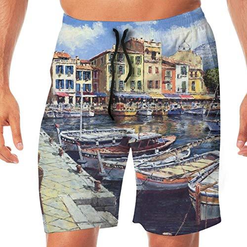 Surce Oil Painting Art of Ancient Fengshui Town (3) Heren Hawaiian Boxer Briefs, Quick-Drying Boxer Briefs, 3D Printed Elastisch Beach Shorts met zakken