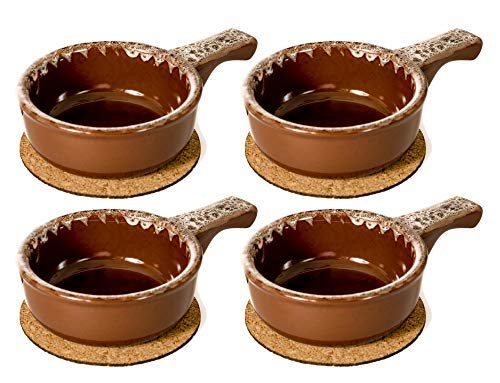 Baking Serving Onion Soup 14 Ounce Bowls with Handles - Set of 4 - Porcelain Individual Stoneware Chowder Bisque Pot Pie Crocks