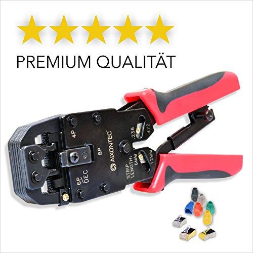 AIXONTEC® Crimpzange - Premium Qualität - Universelles Crimpwerkzeug für Modularstecker - Handkrimpzange geeignet für RJ45, RJ12, RJ11, RJ10, 4P2C, DEC