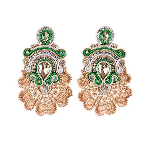 1 pair Vintage Ethnic Earrings Female Large Earrings New Soutache Handmade Crystal Pendant Earrings Party Gift,Khaki