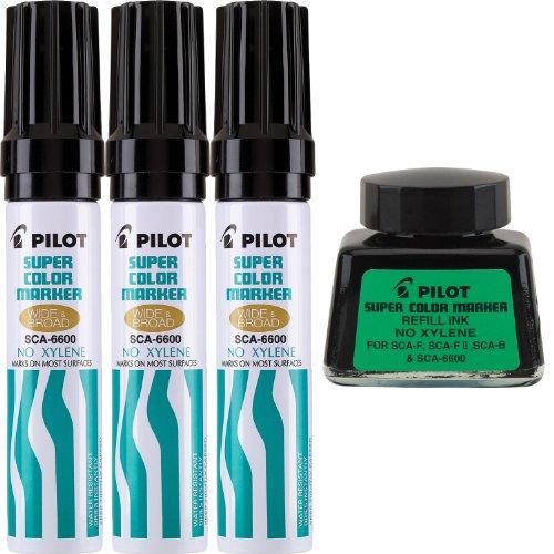 Color Pilot Super Jumbo marcadores permanentes recargables, Jumbo cincel, xileno-libre, tinta negra, tinta Restickable con 3 unidades