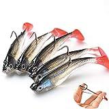 XHONG 5 señuelos de pesca, ojos 3D, señuelo de pesca suave, señuelos de pesca de minnow de Topwater Popper, anzuelos de pesca con un solo gancho, cebos artificiales para exteriores