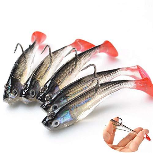XHONG 5 señuelos de Pesca con Gancho, Ojos 3D, señuelos Suaves, cebos Artificiales para Exteriores, Herramienta de Pesca
