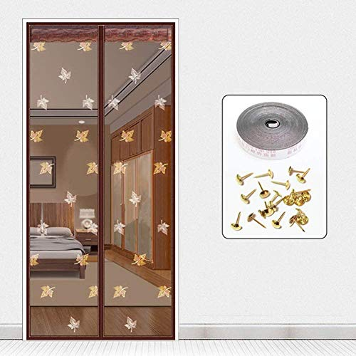 CYGJ Maple Leaf Embroidery Pattern Magnetic Insect Screen Window 80x200cm / 31x78inches Magnetic Mesh Door Screen for Sliding/French/Glass/Porch Door,Coffee,Easy to Install Without Drilling