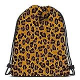 Ahdyr Mochila con cordón Bolsas Deportivas Cinch Tote Bags Textura de Piel de Leopardo para Viajes y Almacenamiento