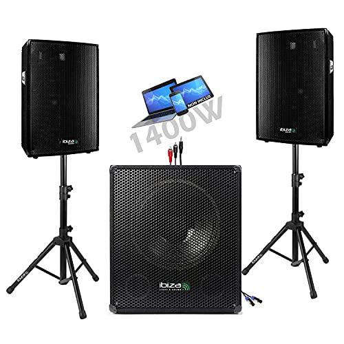PACK SONO ENCEINTE + CAISSSON DE BASSES + PIEDS + CABLES HP et PC offerts !!! - PA DJ SONO MIX idéal soirée dansante disco mobile
