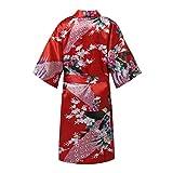 iiniim Mädchen Bademantel Morgenmantel Kimono Satin Nachtwäsche Pfau Blumen Negligee Schlafanzug Nachthemd Rot X 146-164