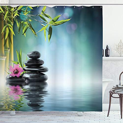 ABAKUHAUS Spa Duschvorhang, Hibiskus-Bambus auf Wasser, Bakterie Schimmel Resistent inkl. 12 Haken Waschbar Stielvoller Digitaldruck, 175 x 180 cm, Benzin Blauer Fuchsia Kalkgrün