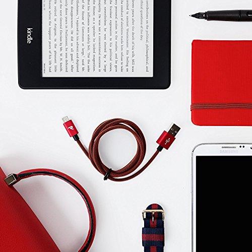 RAMPOW Micro USB Kabel, 1M / 2 Stücke - USB Ladekabel, Micro USB Kabel Nylon Geeignet für Android Smartphones, Samsung Galaxy, Huawei, Nexus, Sony, Nokia, Kindle und Mehr - Rot