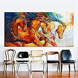 KWzEQ Leinwandwandkunst DREI Pferde, die Tierbilder für Hauptdekoration des Wohnzimmers Laufen Lassen,Rahmenlose Malerei,60x120cm
