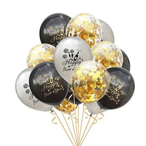 Amosfun 15 Piezas 2020 Feliz año Nuevo Globos de látex Globos de Confeti 2020 Decoraciones de víspera de año Nuevo Suministros de Fiesta Accesorios 12 Pulgadas (Confeti Negro/Plateado/Dorado)