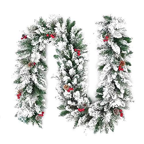 Rattan Decorative Wreath/PVC Flocking Christmas Door Hanging Garland,artificial Pine Cones And Cedar,Christmas Window (Size : 270cm)