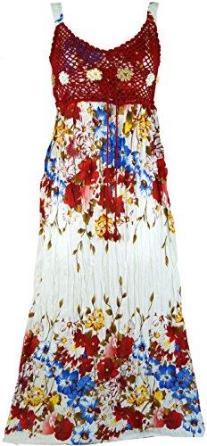 Guru-Shop Boho Sommerkleid, Krinkelkleid, Strandkleid Hippie Chic, Damen, Rot, Synthetisch, Size:38, Lange & Midi-Kleider Alternative Bekleidung