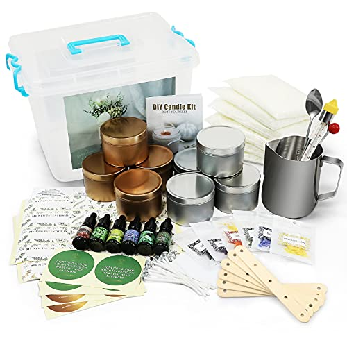 Luxury DIY Candle Making Kit Supplies Set Scented Candle for Art and Craft Soy Wax, Fragrance Oil, Cotton Wicks, Candle Pigment, Candles Craft Supplies 81 Piece Gifts Set