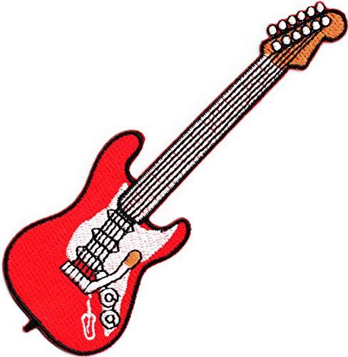 Parche bordado para coser o planchar con diseño de guitarra eléctrica roja...