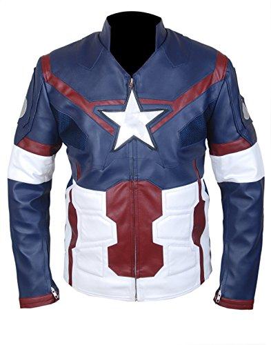 Western Fashions Capitán América The Winter Soldier Chaqueta de Cuero Genuino 2014 Gris Estrella y Rayas