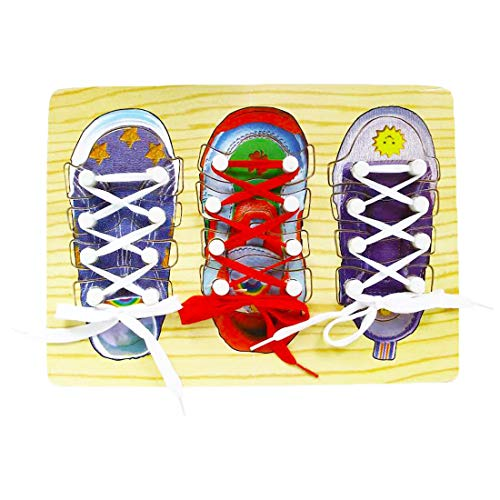 Enzege Kinder Schnürsenkel Training, Holz Fädelspiel Fädelschuh Kinder Lernspiele