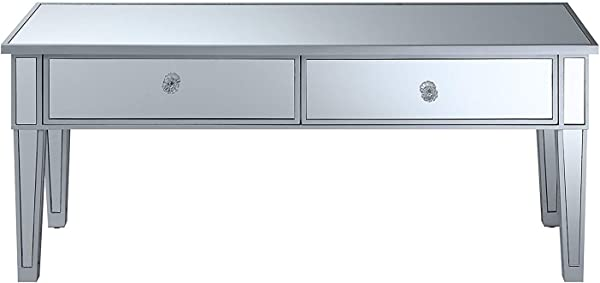 便利概念 413382SS 带两个抽屉的咖啡桌镜子银色框架