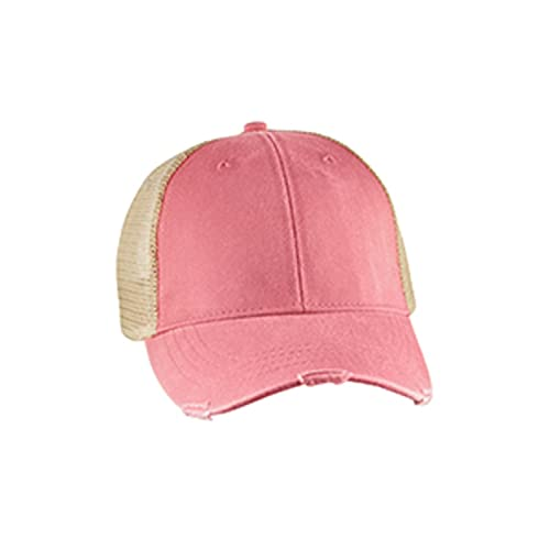 5c2ad563 Mary's Monograms Monogrammed Distressed Trucker Hat Coral