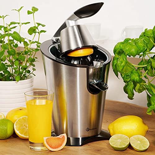 Foto von Nutrilovers CITRUS-PRESS Zitruspresse Orangenpresse Zitronenpresse elektrisch [300W] Edelstahl - 100% BPA-frei | Inkl. Rezepte, Glasflasche - Saftpresse Orangen, Zitronen, Grapefruit