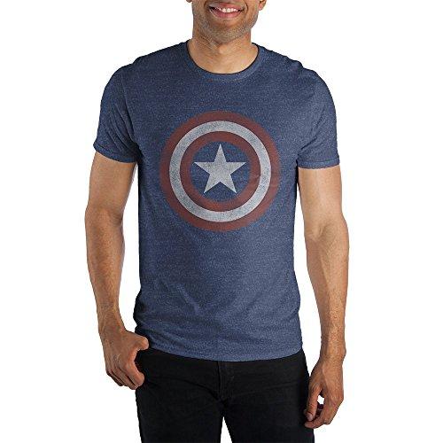 Marvel Comics Captain America Logo Men's Blue T-Shirt Tee Shirt-Large