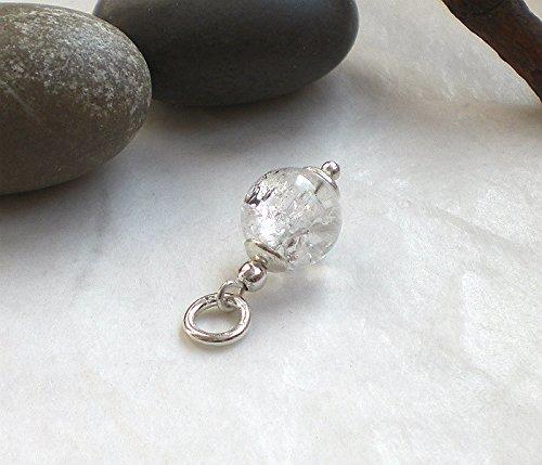 Schlichter Bergkristall Anhänger weiß marmoriert 925 Silber