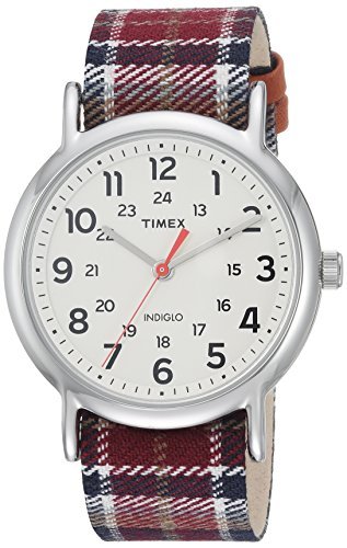 Timex Women's TW2R42200 Weekender 38 Red/Black Plaid Fabric Slip-Thru Strap Watch