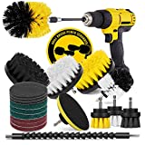 HIWARE 20-Piece Drill Brush Attachment Power Scrubber Set - Drill Scrub Cleaning Brush Kit with Extend Long Attachment for Bathroom, Kitchen, Home, Grout, Floor, Tile, Car and Sink