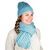 Conjunto de gorro y bufanda de invierno para mujer, 100% lana merino