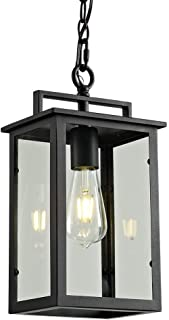 Outdoor Pendant Light Exterior Hanging Lantern, 1-Light Outdoor Pendant Lighting for Porch, Matte Black Finish with Clear Glass, Height Adjustable