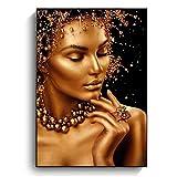 Arte de pared, pinturas al óleo de mujer negra y dorada sobre lienzo, cuadros artísticos desnudos, carteles e impresiones, cuadros artísticos de pared modernos, decoración del hogar, sin marco