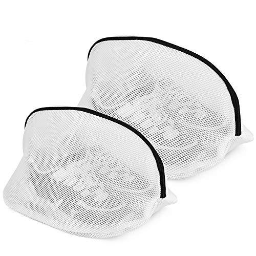 Yoassi 2 PCS Sacchetti per Scarpe in Rete per Lavanderia Sacchetto Scarpe Borse per Bucato con Cerniera Zip Proteggi Reggiseno per Lavatrice, Organizzatore e Viaggio