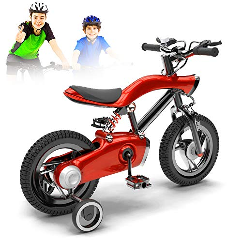NEWPIN LED verlichting Kinderfiets Meisje fiets met schokdemper veer, stuur en zadel hoogte verstelbaar, verwijderbare steunwielen