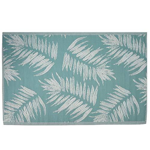 JEMIDI Tapis de terrasse - Tapis extérieur - Tapis de balcon - Tapis d'extérieur - Feuilles - Décoration - 180 cm x 120 cm - Turquoise clair