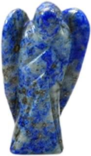 Hand Carved Lapis Lazuli Gemstone Peace Angel Pocket Guardian Angel Healing Statue 1.5 inch (03)