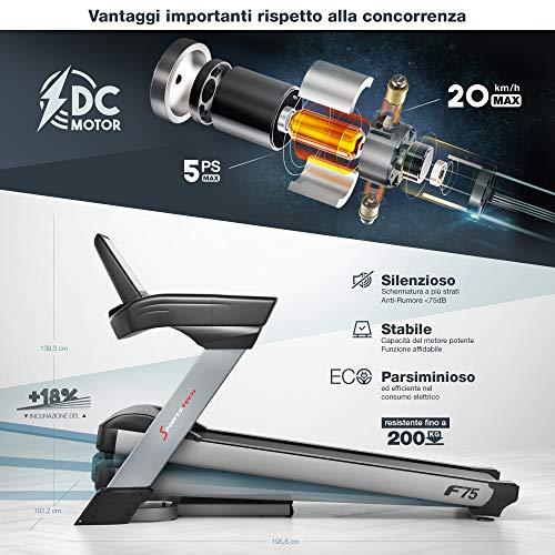 Sportstech F75 Tapis Roulant Elettrico qualità Tedesca Ampia Superficie di Corsa 580x1600mm, Display Android da 15,6
