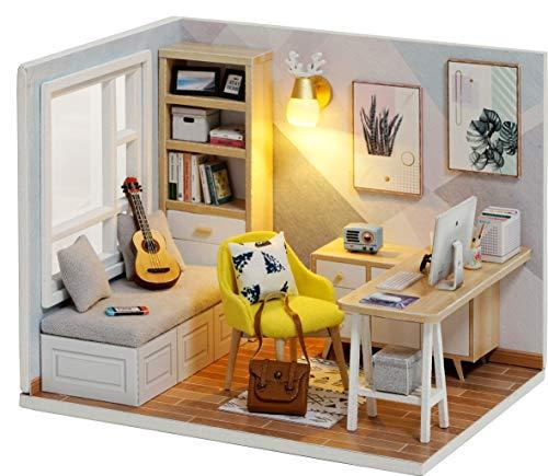 CUTEROOM Bricolage Chambre de poupée Meubles Miniatures Maison en Bois Kit-Bricolage Cabine étude Soleil 1:32 Mini édition Collector avec Meubles et Accessoires
