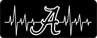 All About Families Alabama Football Heart Beat ~ White ~ Window Sticker/CAR/Truck/RV/Boat with Alcohol PAD~ Size 18 X 6.25