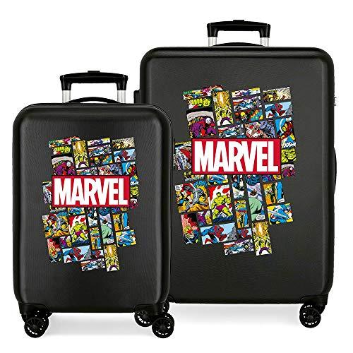 Marvel Los Vengadores Comic Juego de Maletas Negro 55/68 cms Rígida ABS Cierre combinación 104L 4 Ruedas Dobles Equipaje de Mano