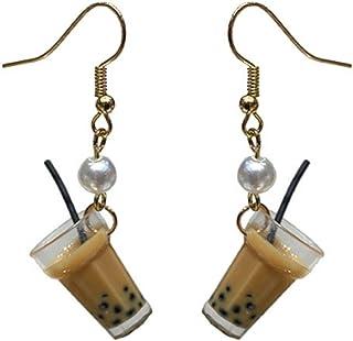 DMtse Creative Cute Fun Earrings Pearl Milk Tea Cup Design Drop Earrings