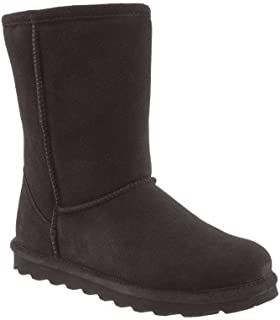 BEARPAW Women's Sheepskin Short Ankle Suede Boots - NeverWet Stain and Liquid Repellent - Elle by