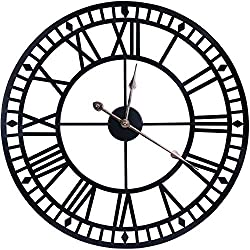 WISKALON 24 Inch Round Large Decorative Wall Clock,Silent Non-Ticking Battery Operated Metal Wall Clock,Classical Black European Roman Numerals Vintage Industrial Style Indoor Wall Clock